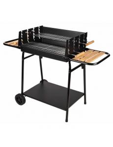 JAVA Barbecue à charbon de bois avec cuve en acier sur chariot à rouletted - 62x46 cm