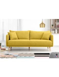 HEXAGONE Canapé Fixe 3 places - Tissu jaune avec 2 Coussins Déco Bi-face  FABRICATION FRANCAISE