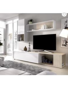 Meuble TV extensible - Décor chêne naturel et blanc - L 230 x P 41 x H 180 cm -
